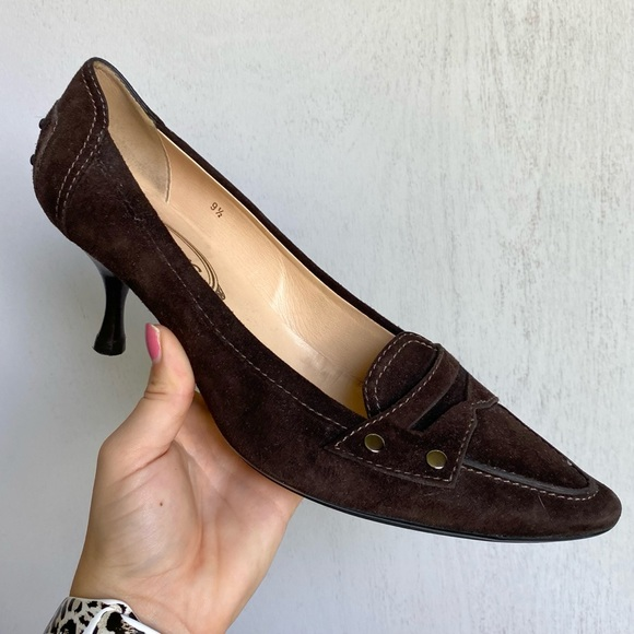 Tods Brown Suede Pointed Toe Kitten